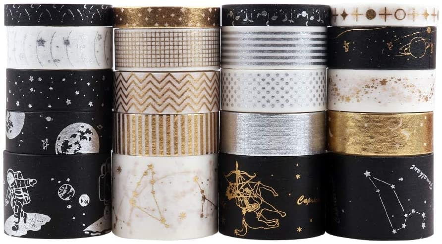 Washi tapes nero oro bianco